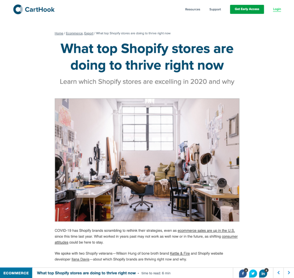Article on CartHook website: What top Shopify stores are doing to thrive right now