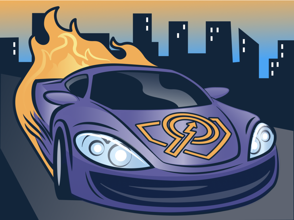A fast purple car with flames coming out the back and the JSON-LD for SEO logo on the car hood
